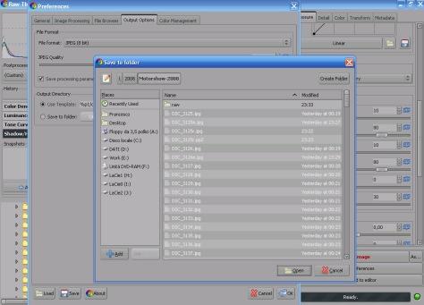 Scelta directory di output